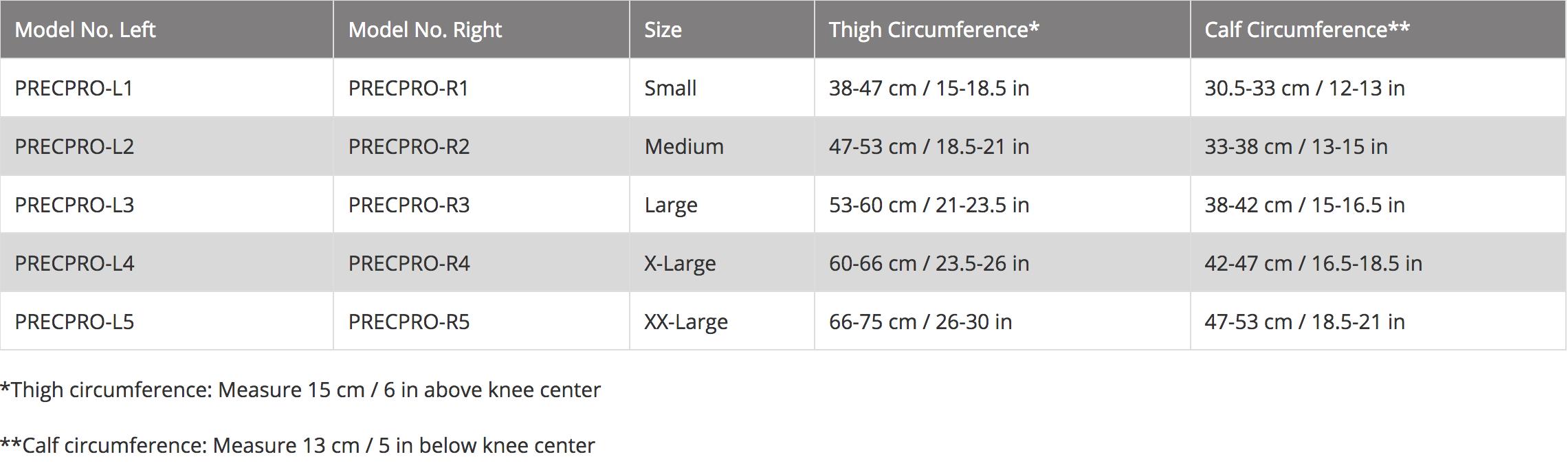Trulife Lenox Hill Precision Pro knee brace size chart